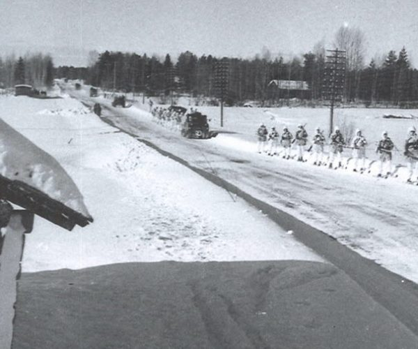 Ski-joring after tractor at neighbouring Råneå P 5 March 1962